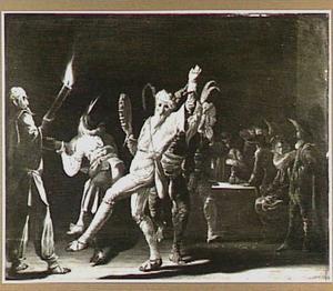 Interieur met dansende Vastenavondgangers