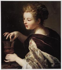 Cleopatra werpt de parel in een beker wijn