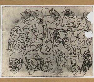 Mannelijke naaktfiguren en studies van koppen