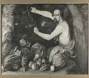 Man, een tak snijdend, bij een stilleven van groenten en vruchten