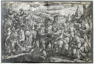 Alexander de Grote in Jeruzalem begroet door hogepriesters