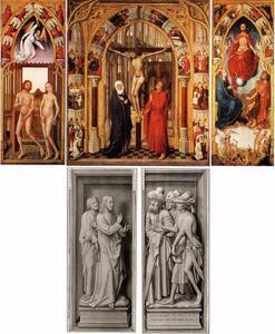 De verdrijving uit het paradijs (binnenzijde links), de Kruisiging (midden), het Laatste Oordeel (binnenzijde rechts); De cijnspenning: Christus en een discipel (buitenzijde links), de cijnspenning: drie Farizeeën (buitenzijde rechts)