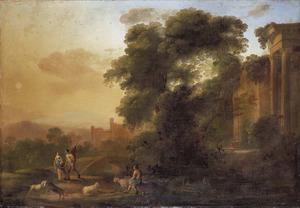 Zuidelijk landschap met een schaapherder en wandelaars bij een ruïne