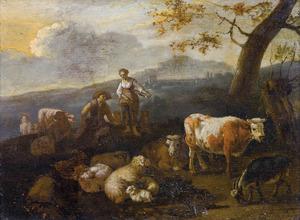 Landschap met een herderspaar en vee