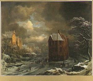 Winterlandschap met gezicht vanaf het Hekelveld in Amsterdam met links de Nieuwezijds Voorburgwal en rechts de Nieuwezijds Achterburgwal; op de achtergrond de koepel van het stadhuis en de toren van de Nieuwe Kerk