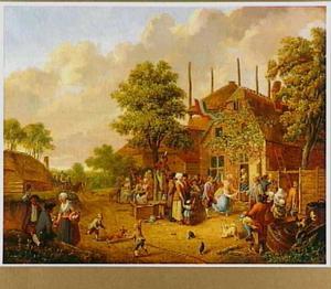 Feestende boeren voor een herberg