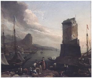 Zuidelijk havengezicht met toren