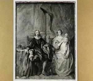 Familieportret van Charles I Stuart (1600-1649), Henrietta Maria de Bourbon (1609-1669) en hun oudste twee kinderen Charles II Stuart (1630-1685) en Mary I Stuart (1631-1661)