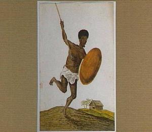 Malagassische krijger met assegaai en schild