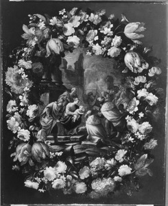 Bloemenkrans rondom een voorstelling van de aanbidding van de koningen