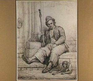 Zittende man met hond en wandelstok