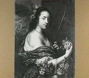 Portret van een vrouw als herderin met bloemen in een mand