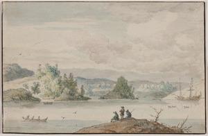 Fjord met een Nederlands schip