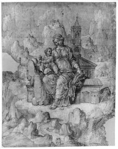 Maria met Kind gezeten op een kerk, in rotslandschap