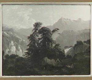 Berglandschap voorstellende de Vierwaldstattersee