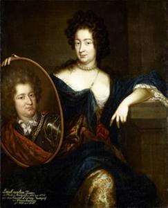Luise Charlotte von Radziwiłł, Marquise van Brandenburg met een portret van haar echtgenoot (1667-1695)