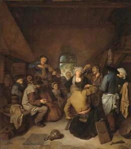 Musicerende en dansende boeren in een herberg