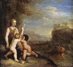 Eva verzorgt haar kinderen, terwijl Adam de akker zaait (Genesis 3:20-23)