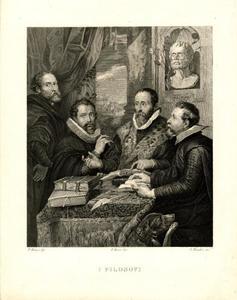 Zelfportret met Philip Rubens (1574-1611), Justus Lipsius (1547-1606) en Johannes Woverius (1576-1635)