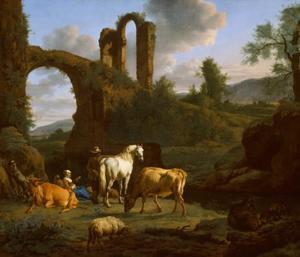 Italianiserend landschap met ruïnes