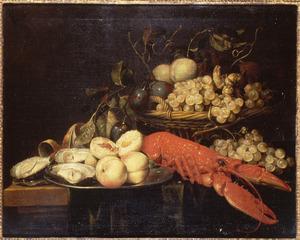 Stilleven met fruit, oesters en kreeft
