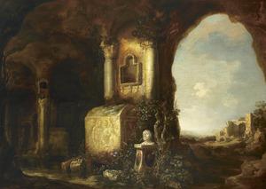 Gezicht in een grot met een borstbeeld van Seneca bij een graftombe