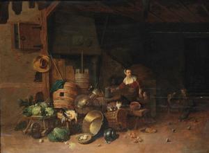 Binnenplaats met dienstmeid, kinderen, groenten en keukengerei