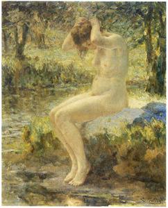 Naakte vrouw aan de rand van een vijver