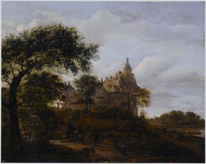 Landschap met jagers op een weg naar een kasteel
