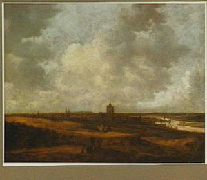 Gezicht op Arnhem met rustende boeren en reizigers op een landweg