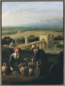 Zuidelijk landschap met etende reizigers, op de achtergrond een brug