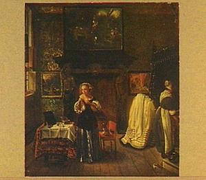 Meisje en dienstmaagd in interieur