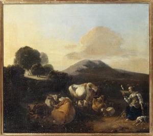 Zuidelijk landschap met een herderin met haar kudde