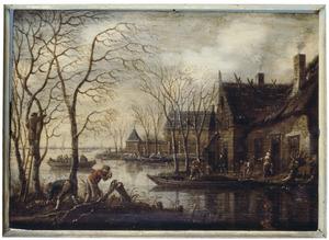 Landschap met houthakkers bij een rivier (Winter?)