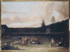 Landschap met herders, vee en een tekenaar bij een vaart; op de achtergrond een landhuis