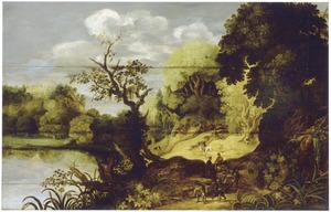 Boslandschap met reizigers op een weg langs een rivier