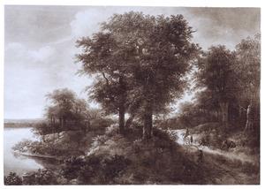 Bebost landschap met ruiter en reizigers op een zandweg, op de achtergrond een dorp