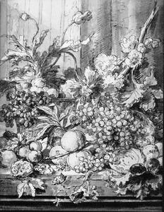 Stilleven met vruchten en bloemen op een tafel