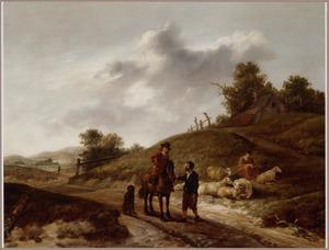 Duinlandschap met ruiter en herders