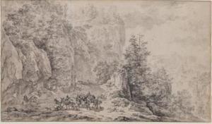 Bergachtig boslandschap met figuren, op de achtergrond twee kastelen