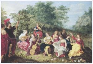 Apollo en de negen muzen op de Helicon
