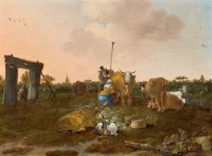 Landschap met herders, melkmeid en vee