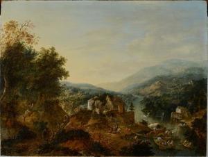 Berglandschap met gebouwen langs een rivier