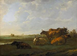 Landschap met vee rustend langs het water, in de verte Dordrecht