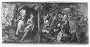 Job, op de mestvaalt gekweld door demonen, wordt door zijn vrouw uitgescholden (Job 2:8-9)