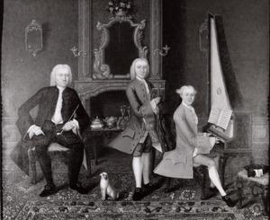 Portret van Gualtherus Kolff (1711-1789) en zijn zoons Cornelis Kolff (1743-1812) en Jacob van Santen (1738-1768)