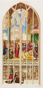 De koningin van Seba bezoekt koning Salomo (1 Koningen 10:1-13), met onder een portret van schenkster Elburga van den Boetzelaer, abdis van het klooster bij Rijnsburg