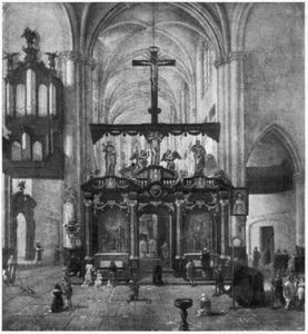 Interieur van een kerk met een begrafenisdienst