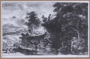 Rivierlandschap met houten bruggetje en zittend paar