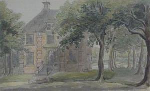 De voorzijde van het huis Rooswijk in Velsen-Noord (tegenwoordig Staalstraat, Hoogovens/Corusterrein)